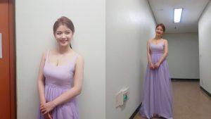 gaya pakaian korea gaun lilac