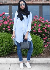hijab kemeja casual sneakers