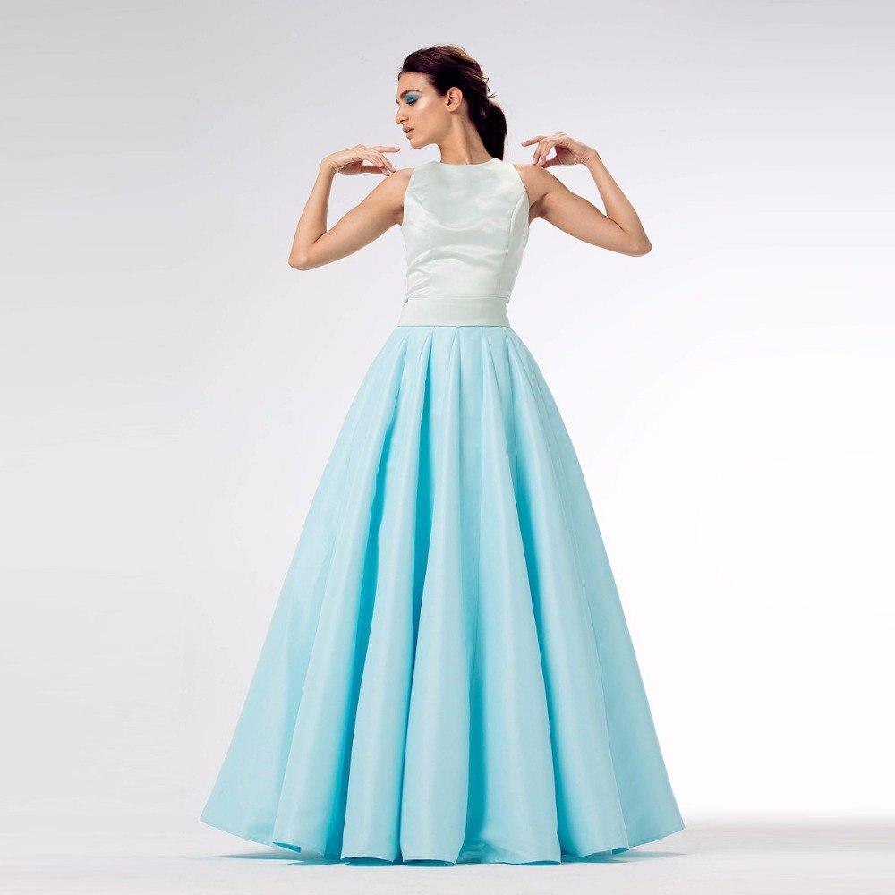 High End Langit Biru Rok Panjang Untuk Wanita Dengan Tulle Puffy Custom Made Satin.