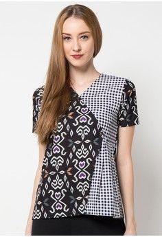 Baju Batik Lengan Pendek Perpaduan Motif Kotak warna silver hitam