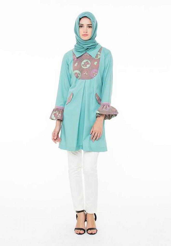 Baju Batik Wanita Lengan Panjang biru muda