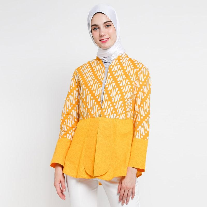 Baju Batik Wanita Kuning Hijab