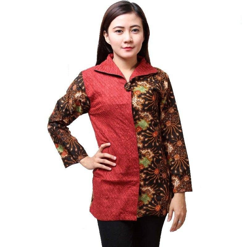 Baju Batik Wanita Lengan Panjang dua warna semi formal