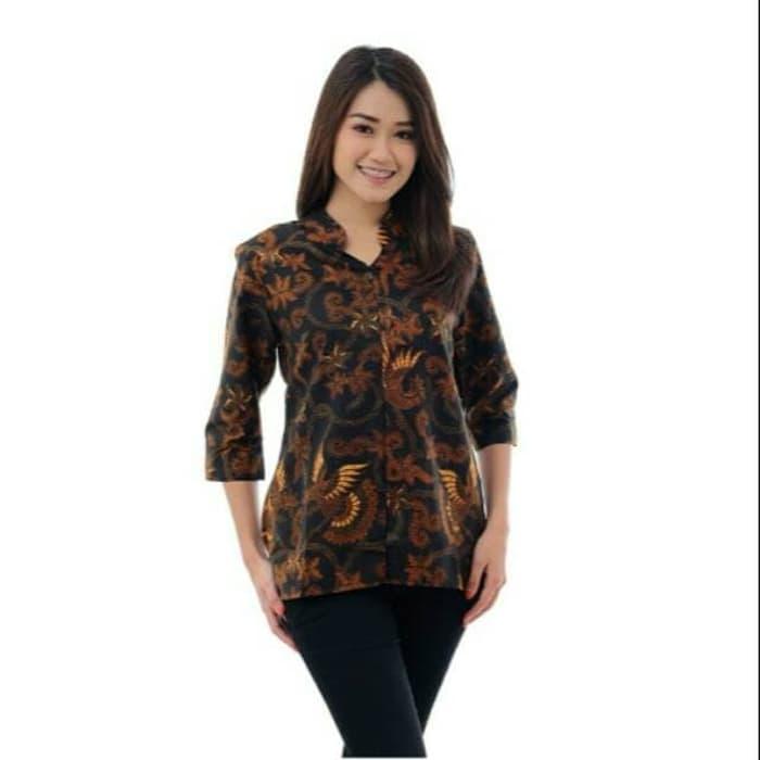 Baju Batik Wanita Lengan Panjang formal cokelat