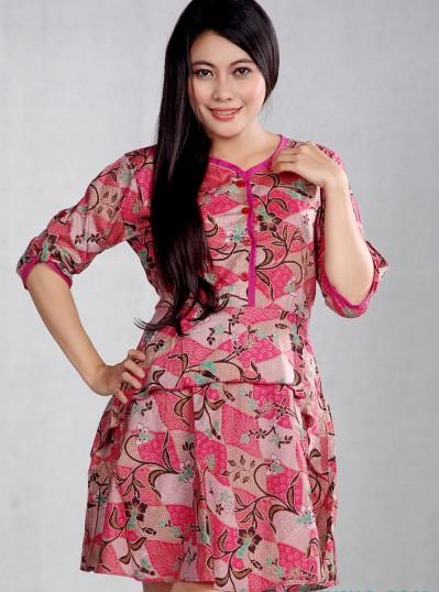 Baju Batik Wanita glamor Pink Muda